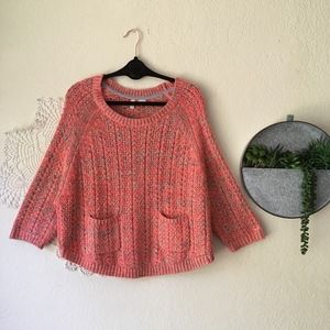 Moth orange neon Marled Swing knit pocket sweater